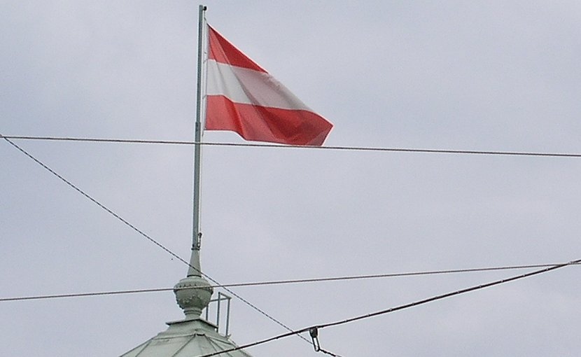 The flag of Austria.