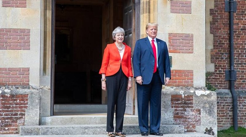 Prime Minister Theresa May welcomes President Donald J. Trump to her residence for a bilateral meeting   July 12, 2018 (Official White House Photo by Shealah Craighead)