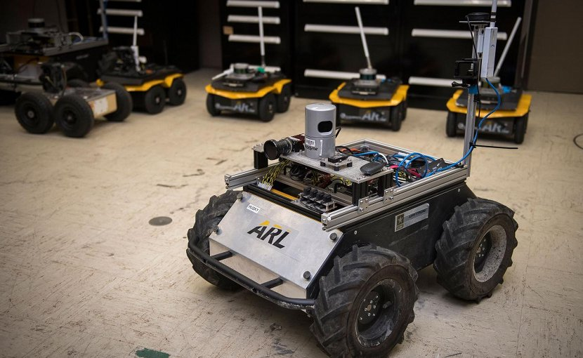 A small unmanned Clearpath Husky robot, which was used by ARL researchers to develop a new technique to quickly teach robots novel traversal behaviors with minimal human oversight. Credit US Army