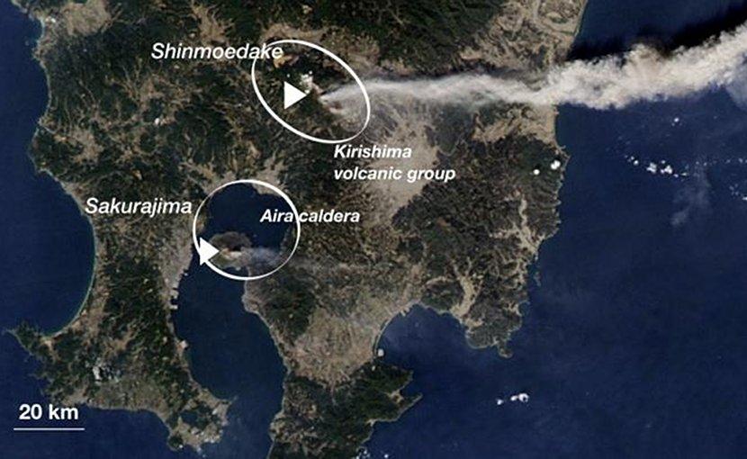 Southern Japan on Feb. 3rd, 2011, showing the active cones of Kirishima (Shinmoedake) and Aira caldera (Sakurajima) volcanoes. While Kirishima is erupting very strongly, Aira's activity is relatively low. Credit NASA
