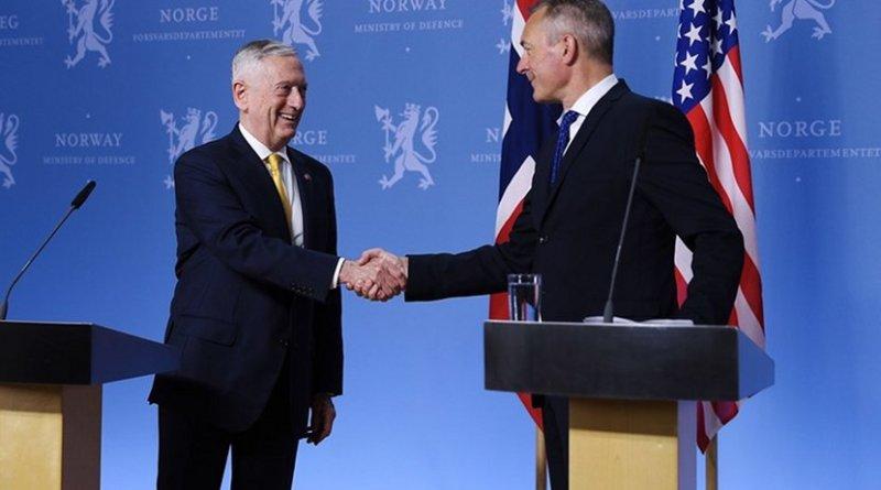 US Defense Secretary James N. Mattis, left, meets with Norwegian Defense Minister Frank Bakke-Jense in Oslo, Norway. US State Department photo.