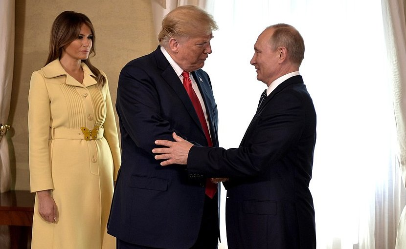 Russia's President Vladimir Putin with US President Donald Trump before the talks. On the left First Lady Melania Trump. Photo Credit: Kremlin.ru