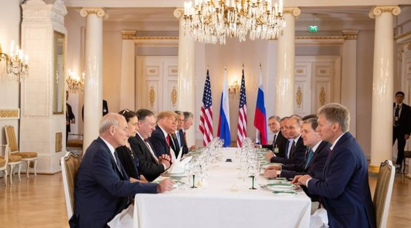 President Donald J. Trump and President Vladimir Putin of the Russian Federation hold a working lunch   July 16, 2018 (Official White House Photo by Shealah Craighead)