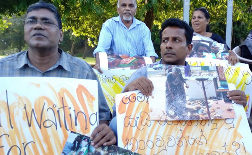 Human rights activists demonstrating in Colombo on July 13, urging the government to provide answers to the whereabouts of missing loved ones. (Photo supplied via UCAN)