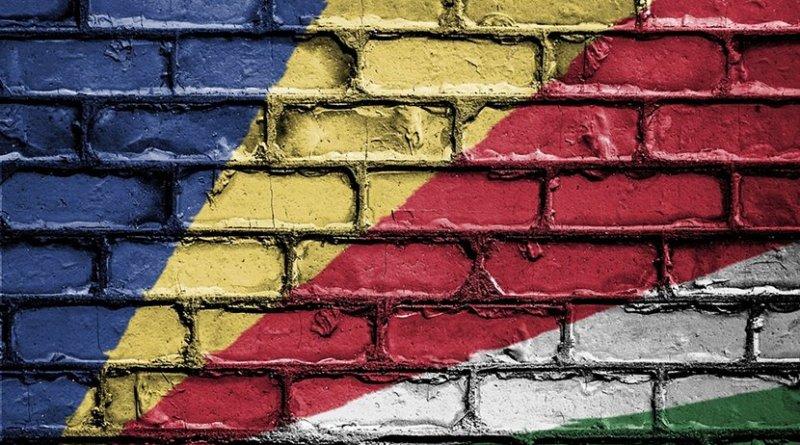 Seychelles flag on wall.