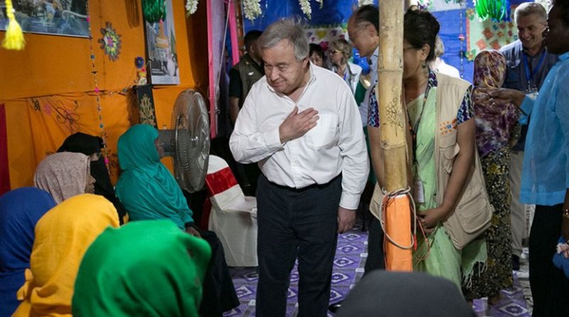 UN Secretary-General António Guterres (center) meets with Rohingya refugees in Cox's Bazaar, Bangladesh. Photo Credit: UNFPA Bangladesh/Allison Joyce