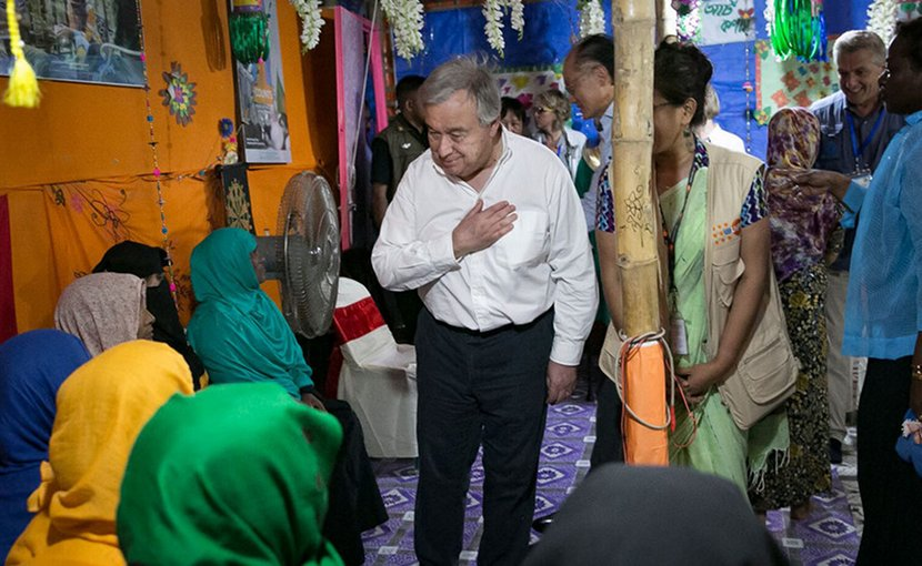 UN Secretary-General António Guterres (center) meets with Rohingya refugees in Cox's Bazaar, Bangladesh. Photo Credit: UNFPA Bangladesh/Allison Joyce