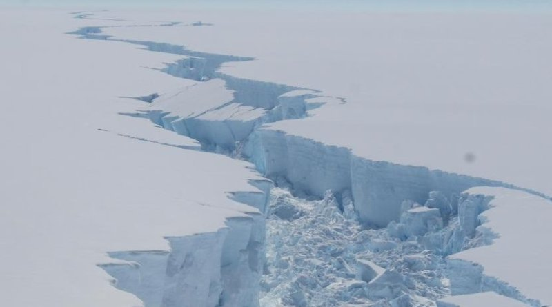 Rift propagation along the Larsen C Ice Shelf. This rift, which led to the calving of an iceberg twice the size of Luxembourg last year, raised questions about the future stability of Larsen C Ice Shelf in a warming world. Credit British Antarctic Survey