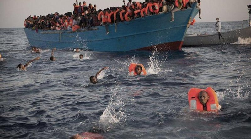 Refugees in overcrowded boat. Photo credit: Tamer Yazar/Twitter