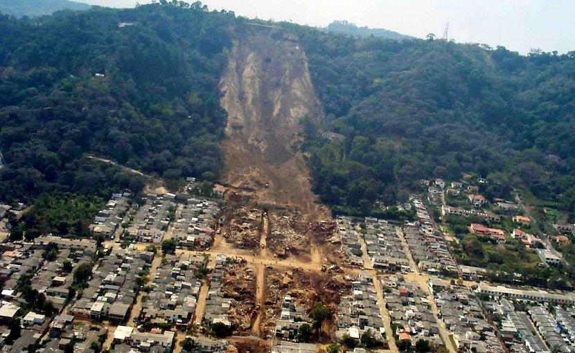 An earthquake-induced landslide in El Salvador in 2001. Credit US Geological Survey