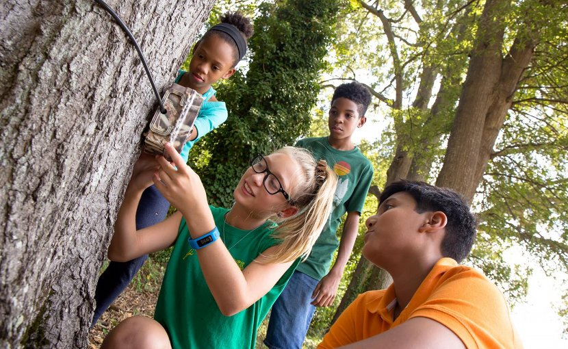 The eMammal citizen science programs offer children opportunities to use technology to observe nature in new ways. Credit Matt Zeher