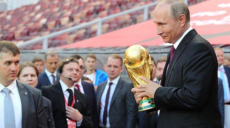 Russia's President Vladimir Putin at FIFA World Cup Trophy Tour kick-off ceremony. Photo Credit: Kremlin.ru.