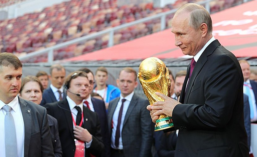 Russia's President Vladimir Putin at FIFA World Cup Trophy Tour kick-off ceremony. Photo Credit: Kremlin.ru.