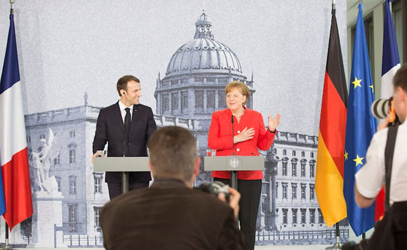 German Chancellor Angela Merkel and French President Emmanuel Macron in a press conference at the Humboldt Forum in the Berlin Palace in April 2018. Credit: Bundesregierung/Steins