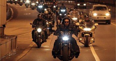 "Russia's motorcyle club (MC) the ""Night Wolves."" Photo Credit: Администрация Волгоградской области, Wikimedia Commons."