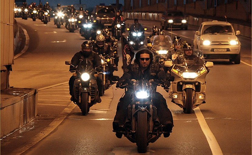 "Russia's motorcyle club (MC) the ""Night Wolves."" Photo Credit: Администрация Волгоградской области, Wikimedia Commons."