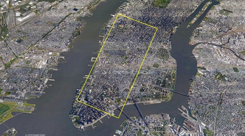 A team of scientists has captured on video a four-mile iceberg breaking away from a glacier in eastern Greenland. The resulting iceberg, broken off from Greenland's Helheim Glacier, would stretch from lower Manhattan up to Midtown in New York City, as shown in this illustrated overlay. Credit Google Earth image courtesy of Denise Holland.