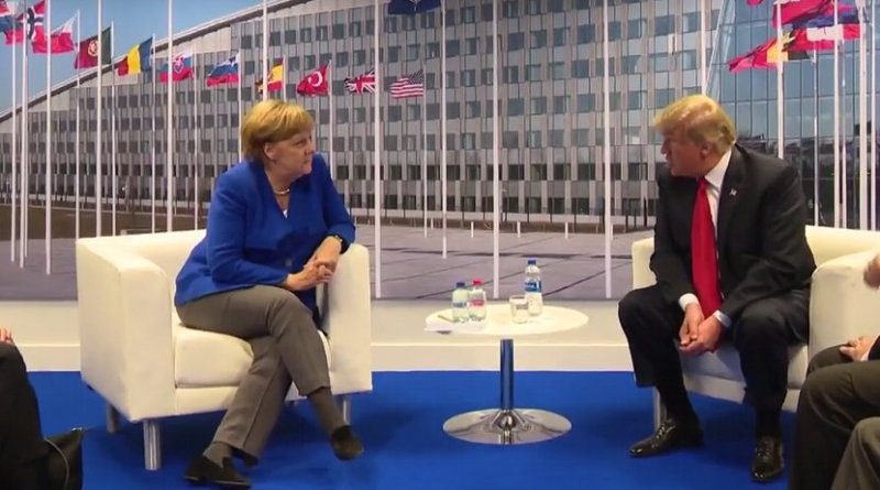 US President Trump holds a bilateral meeting with Germany's Chancellor Merkel. Photo Credit: White House video screenshot.