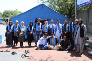 The Afghan Peace Volunteers with members of the People's Peace Movement, outside the UK Embassy in Kabul. Photo by Dr Hakim