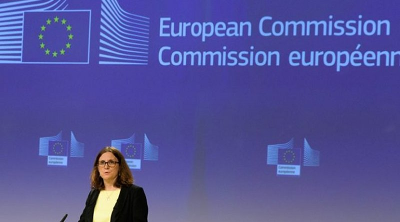 Cecilia Malmström, Commissioner in charge of Trade, during a press conference on the US restrictions on steel and aluminium affecting the EU. [European Commission]