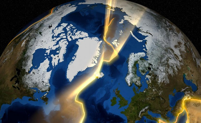 This is a visualization of the continental plates around Greenland. Credit NASA's Goddard Space Flight Center