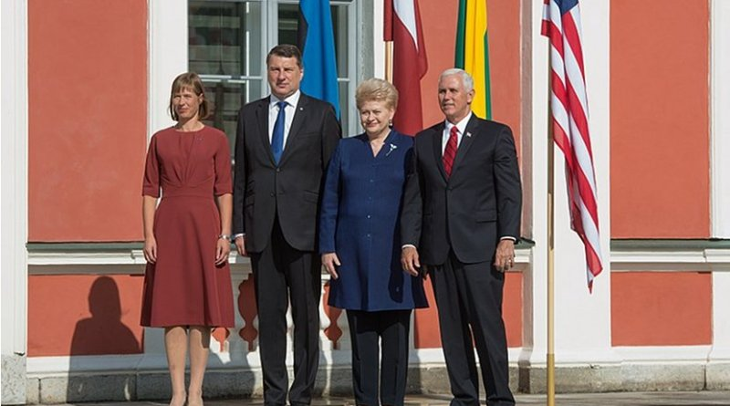 Meeting of President of the Republic of Estonia Kersti Kaljulaid, President of the Republic of Latvia Raimonds Vējonis, President of the Republic of Lithuania Dalia Grybauskaitė and Vice President of the United States Mike Pence. Photo Credit: Estonian Foreign Ministry.