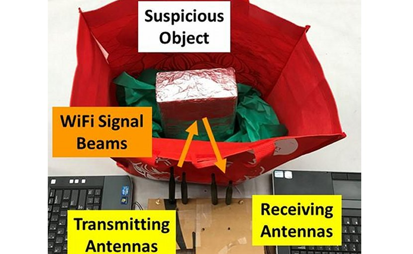 Using common WiFi, this low-cost suspicious object detection system can detect weapons, bombs and explosive chemicals in bags, backpacks and luggage. Credit Data Analysis and Information Security (DAISY) Lab led by Professor Yingying Chen