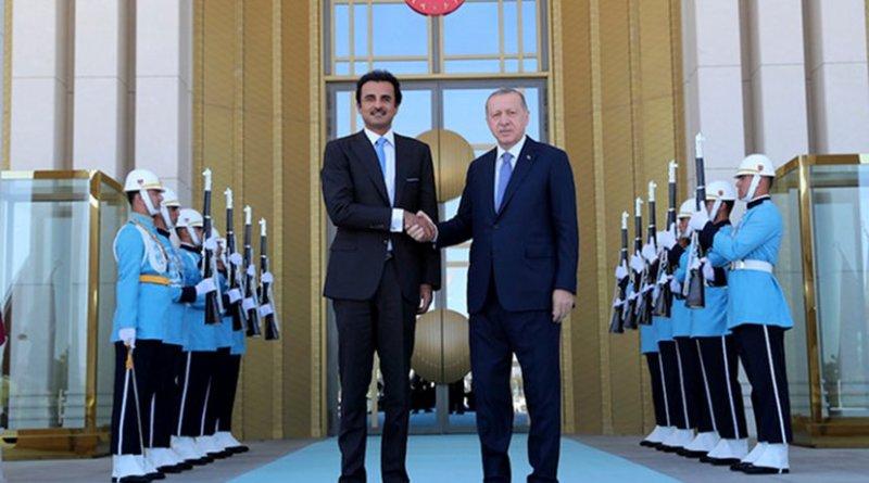 Turkish President Erdogan meets with Emir of Qatar Sheikh Tamim in Ankara. (Presidential Palace/Handout)
