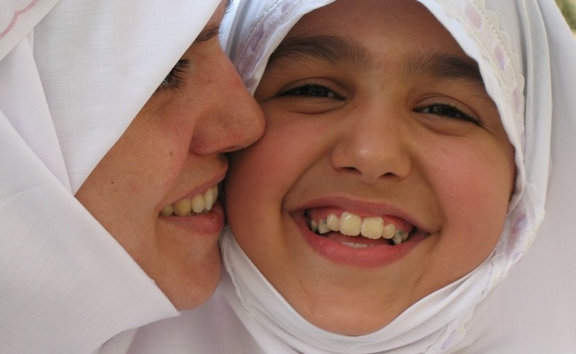 Muslim mother and daughter.