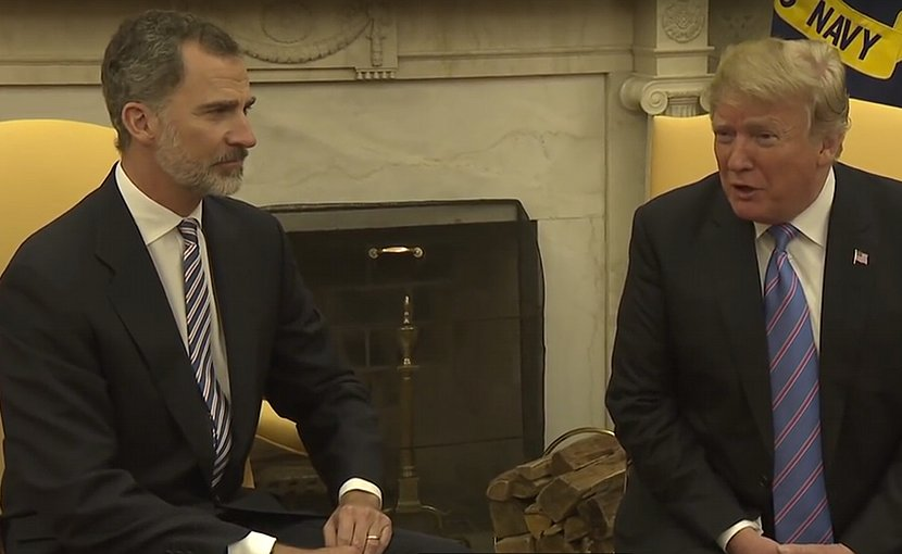 President Donald Trump meets with Spain's King Felipe VI. Photo Credit: White House video screenshot.