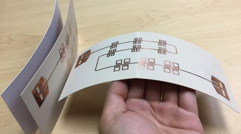 Printed thin, flexible LiveTag tags in comparison with a piece of photo paper (far left). Credit Xinyu Zhang et al.