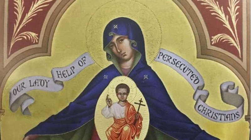 Icon of Our Lady Help of Persecuted Christians, presented at the Knight of Columbus convention. Credit CNA