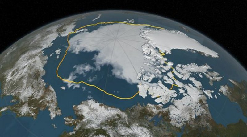 This image was taken in September 2016 showing the extent of Arctic sea ice then. The yellow line shows the average minimum extent of sea ice in the Arctic from 1981 to 2010. Credit NASA