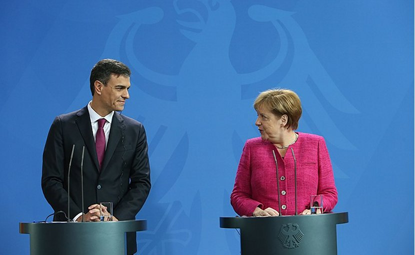 Spain's Pedro Sánchez and Germany's Angela Merkel. Photo Credit: File photo Pool Moncloa/Fernando Calvo
