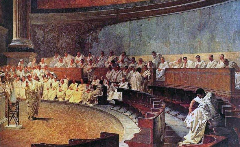 """""""Cicero Denounces Catiline,"""" by Cesare Maccari."""