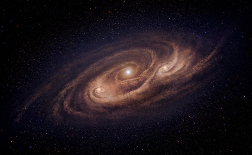 This galaxy is located 12.4 billion light-years away and is forming stars 1000 times more rapidly than our Milky Way Galaxy. ALMA observations revealed dense gas concentrations in the disk, and intense star formation in those concentrations. Credit National Astronomical Observatory of Japan