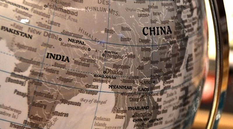 china nepal pakistan india globe map south asia