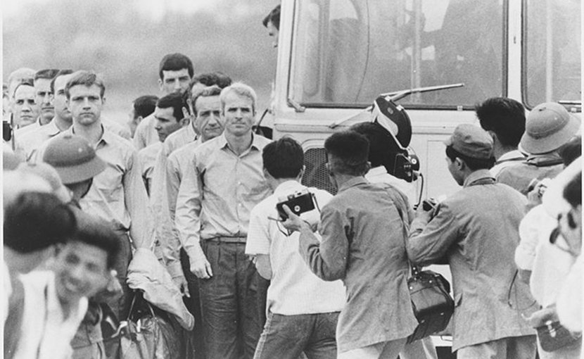 John McCain After Being Released as Prisoner of War. Photo Credit: US Department of Defense, Department of the Navy, Wikimedia Commons.