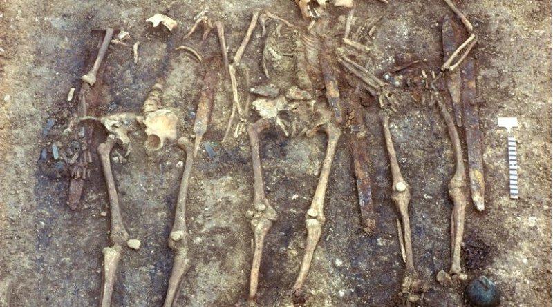 Excavated human remains at the burial site. Credit Landesamt für Denkmalpflege im RP Stuttgart