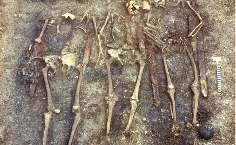 Excavated human remains at the burial site. Credit Landesamt für Denkmalpflege im RP Stuttgart