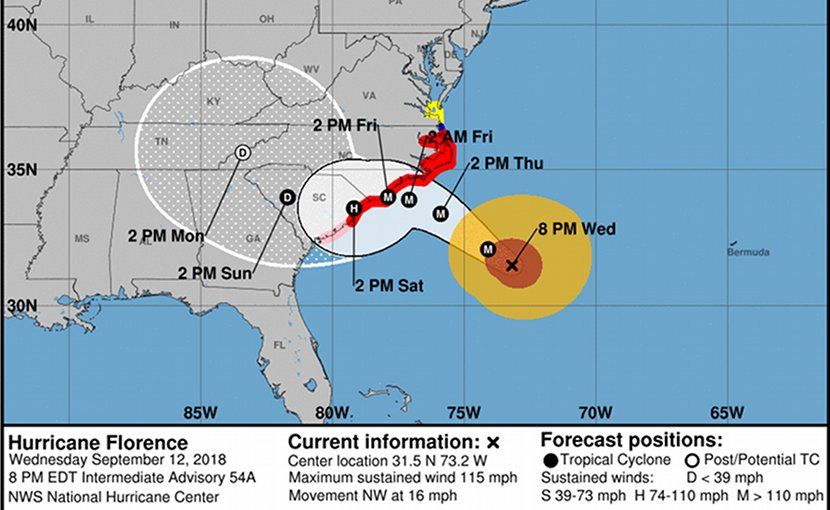 Hurrican Florence forecast map. Credit: NOAA