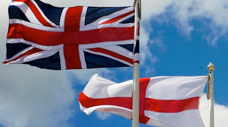 The flag of England flying alongside the flag of the United Kingdom. Photo Credit, Thor, Wikipedia Commons