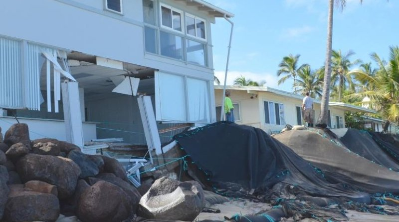 This image shows extensive shoreline erosion near homes at Mokuleia on Oahu's northshore. Credit Brad Romine