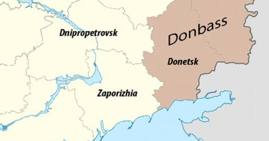 Map of the Donbass region within eastern Ukraine. Source: Wikimedia Commons.