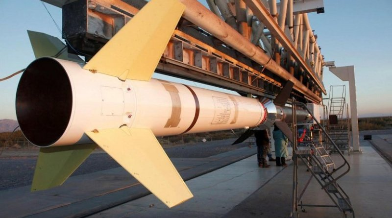 FOXSI on the rail for its first launch on Nov. 2, 2012. Credit NASA/FOXSI/UC Berkeley