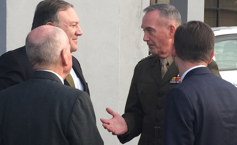 Secretary of State Mike Pompeo, left, speaks with Marine Corps Gen. Joe Dunford, chairman of the Joint Chiefs of Staff, at Pakistan Air Force Base Nur Khan, Rawalpindi, Pakistan, Sept. 5, 2018. DoD photo by Jim Garamone