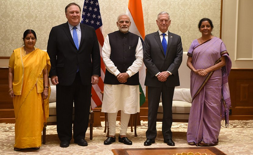 Indian Minister of External Affairs Sushma Swaraj, left, U.S. Secretary of State Michael Pompeo, Indian Prime Minister Narendra Modi, U.S. Defense Secretary James N. Mattis and Indian Defense Minister Nirmala Sitharaman meet at Modi's residence in New Delhi, Sept. 6, 2018. Mattis, Pompeo and their Indian counterparts met with Modi following the first-ever U.S.-India two-plus-two ministerial dialogue. DoD photo by Lisa Ferdinando