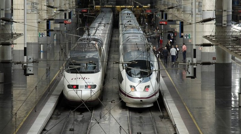 """Spain's high-speed """"Ave"""" train in Atocha, Madrid station."""