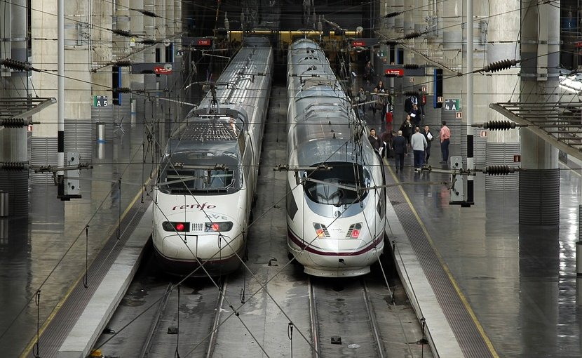"Spain's high-speed ""Ave"" train in Atocha, Madrid station."