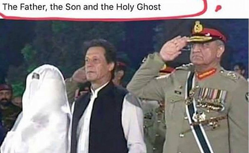 Christians in Pakistan are upset about this Facebook post featuring army chief Gen. Qamar Javed Bajwa, Prime Minister Imran Khan and his wife Bushra Maneka. (Photo supplied)